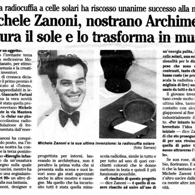 Michele Zanoni Quotidiano l'Adige-8-09-1990